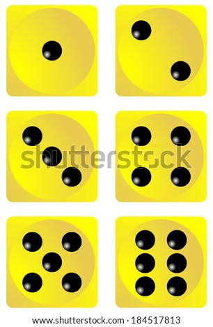 Dice for games turned on all sides and with all the numbers. Numbers of dice, one, two, three, four, five, six. Yellow dice vector art image objects illustration eps10, isolated on white background  - stock vector