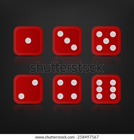 Dice for games turned on all sides and with all the numbers. Vector EPS10 illustration.  - stock vector