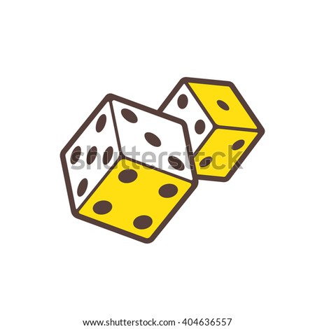 Dice game or casino house logo design template. Two devil's bones flat linear vector icon isolated on white - stock vector