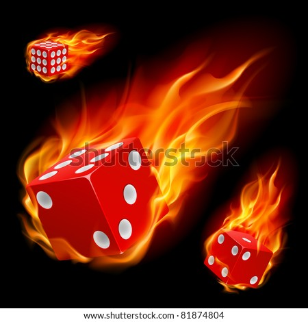 Dice in fire. Illustration on black background - stock vector