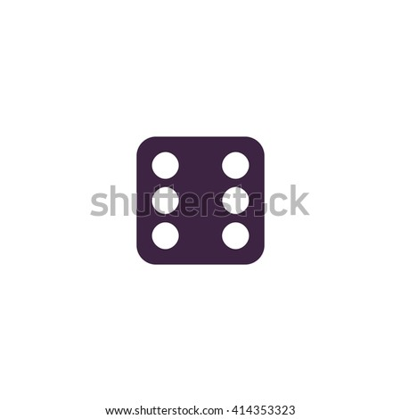 Dice 6 Simple flat blue vector icon on white background - stock vector