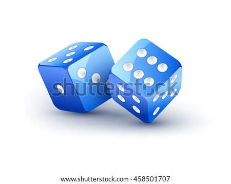 Dice vector design isolated on white. Two dice casino gambling template concept. Casino background. - stock vector