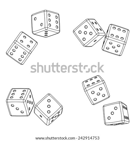 Dices projections color background. Vector illustration, imitation 3d - stock vector