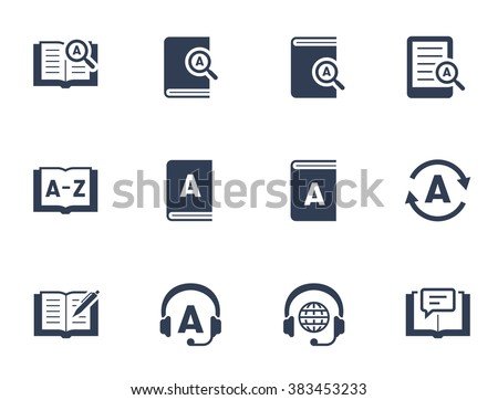 Dictionary and translation related vector icon set - stock vector