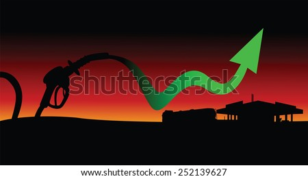 Diesel and gasoline price growth illustration Fuel pistol with green up arrow oil tank truck and gas station silhouettes in sunset background - stock vector