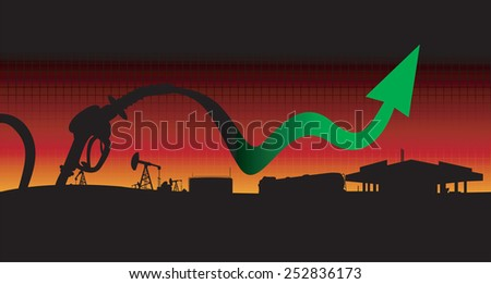 Diesel and gasoline price growth illustration Fuel pistol with green up arrow oil tank truck,oil pumps and gas station silhouettes in sunset background - stock vector