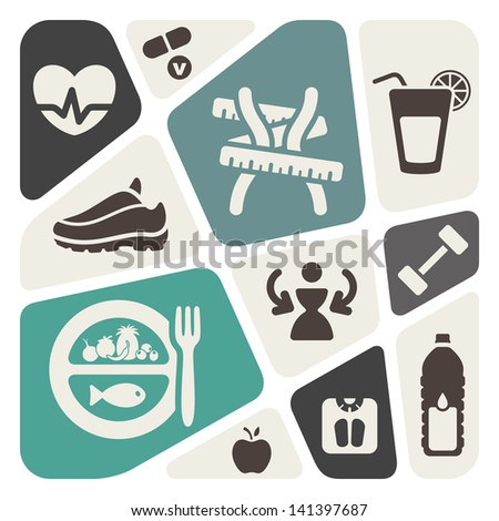 Diet and fitness background with icons - stock vector