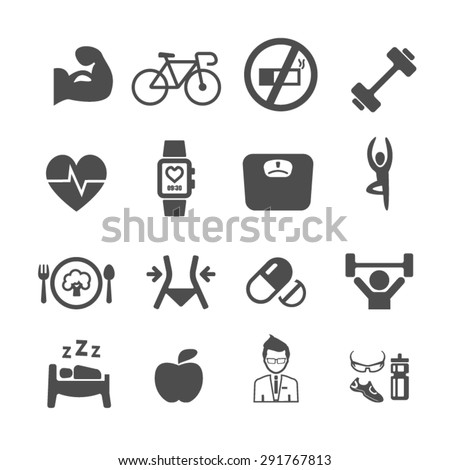 Diet and fitness icons set,Vector - stock vector