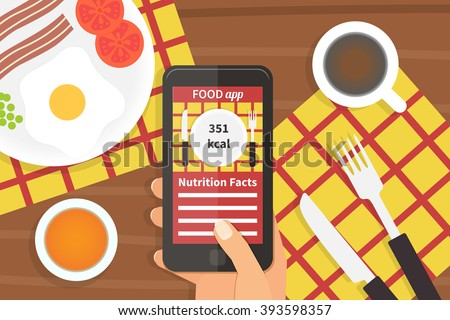 Diet food mobile application on smartphone. Calorie counter app. Vector illustration - stock vector