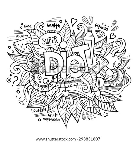 Diet hand lettering and doodles elements and symbols background. Vector hand drawn sketchy illustration - stock vector