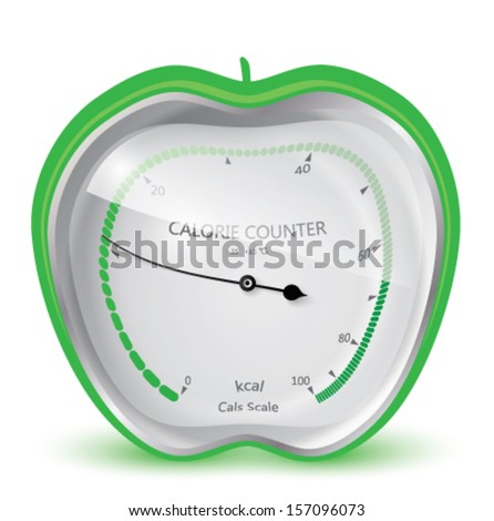 Diet health and beauty. Calorie counter. Apple. Vector eps 10.   - stock vector