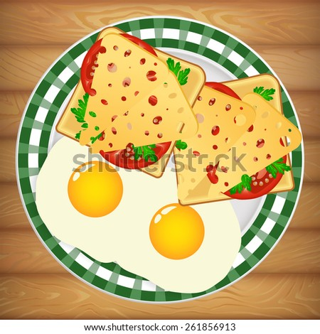 Diet healthy breakfast on beautiful bright plate placed on wooden table. Vector image can be used for restaurant and cafe menu design, food posters, print cards and other crafts. - stock vector