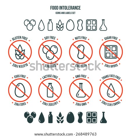 Diet icons and labels, food intolerance such as gluten free, soy free, nuts free, sugar free, eggs free, lactose free, GMO free, trans fats free. Isolated on white background - stock vector