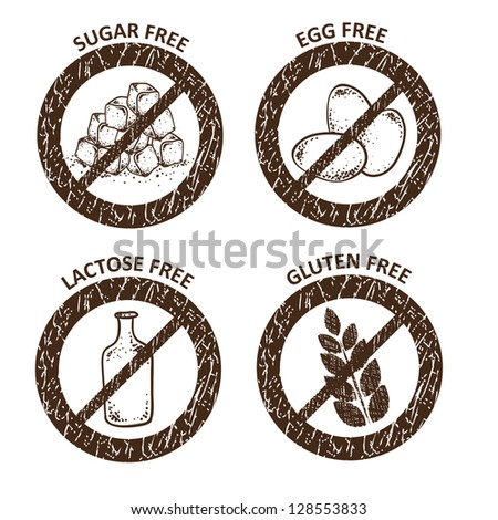 Diet icons. Gluten free, lactose free, sugar free and egg free - stock vector
