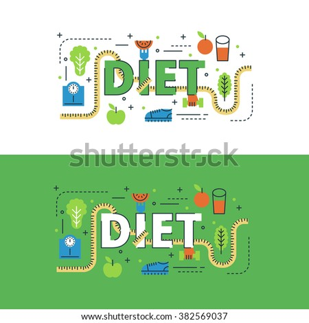 Diet lettering flat line design with icons and elements for book cover, report header, presentation,illustration, infographics, printing, website banner and landing page. - stock vector