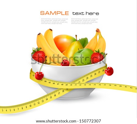 Diet meal. Fruit in a bowl with measuring tape. Concept of diet. Vector illustration  - stock vector