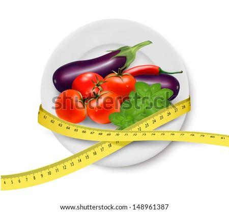 Diet meal. Vegetables in a plate with measuring tape. Concept of diet. Vector illustration  - stock vector