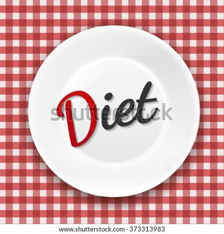 Diet Plate With Gradient Mesh, Vector Illustration - stock vector