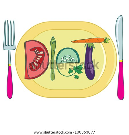 Diet. Title made of vegetables, on plate. Creative vector illustration. - stock vector