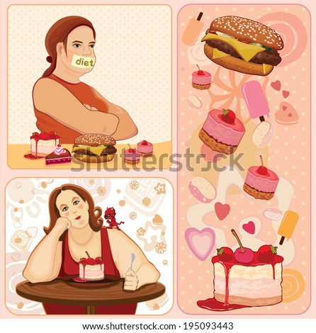 Diet. Woman loses weight. Illustration. - stock vector