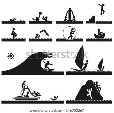 Different activities on the vacation at the sea - stock vector