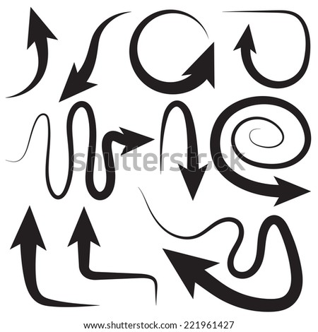 Different arrows, different directions, different positions, vector - stock vector