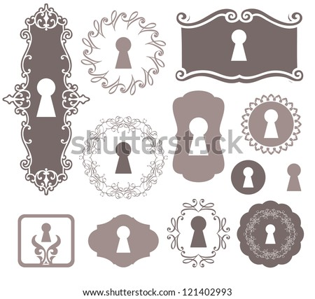 different beautiful silhouettes keyholes decorated frame - stock vector