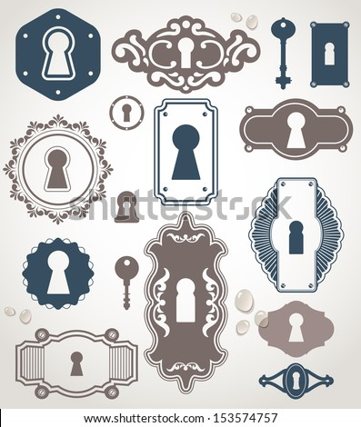 Different beautiful silhouettes keyholes. Decorated frame. Key - stock vector