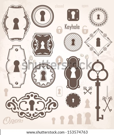Different beautiful silhouettes keyholes. Decorated frame. Keys - stock vector