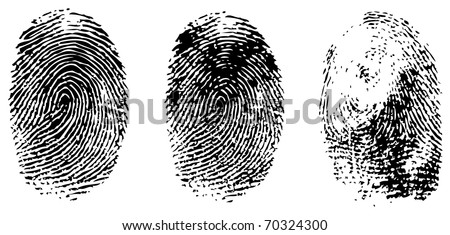 different black fingerprints, vector - stock vector