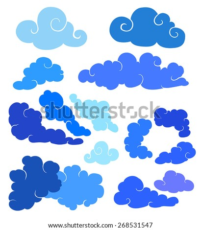 Different blue stylized vector clouds set - stock vector