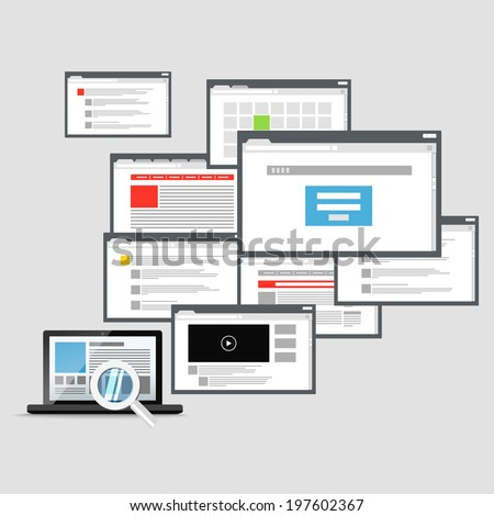 Different browser windows and modern laptop. communication scheme  - stock vector