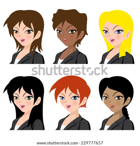 Different business women avatar vector illustration set collection - stock vector