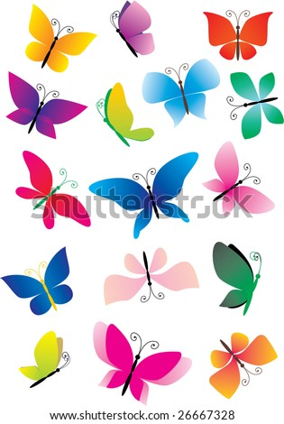 different butterflies - stock vector