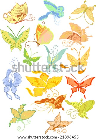 Different butterflies in the Asian style - stock vector