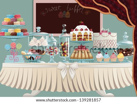 Different cakes on cake-stands and candies in candy jars standing on a table. All objects are grouped and separated to layers. EPS8 - stock vector