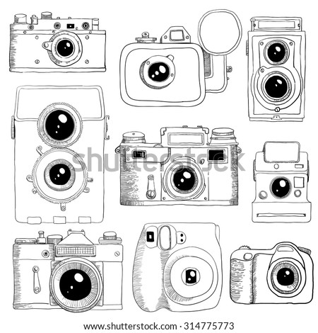 Different cameras hand drawn in vector - stock vector