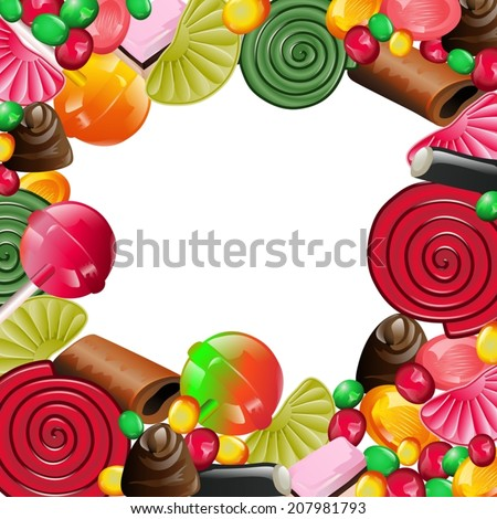 Different candy: licorice, caramel, chocolate, jelly beans on white background - stock vector