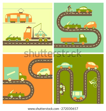 Different cars on the highway in flat style.Vector icons - stock vector