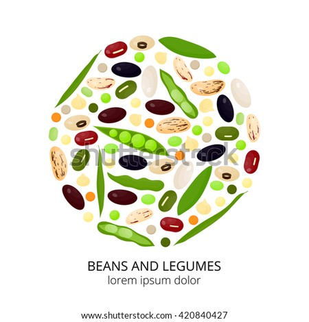 Different cartoon legumes in circle on white background. Kidney, lima, navy, black, cranberry, asparagus, adzuki, pinto, soy, mung, green beans, peas, chickpeas, lentils. - stock vector