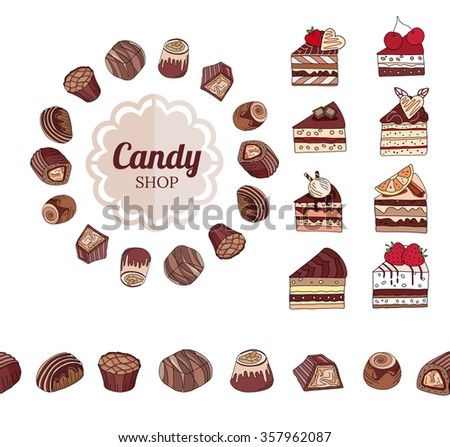 Different chocolate candies and slices of cake on white. Frame, seamless horizontal border.  For your design, announcements, cards, posters, restaurant menu. - stock vector