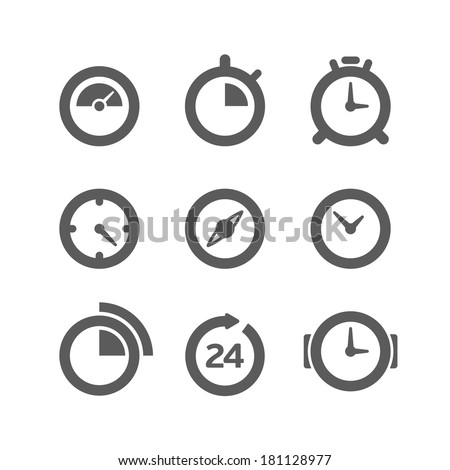 Different clocks collection isolated on white - stock vector