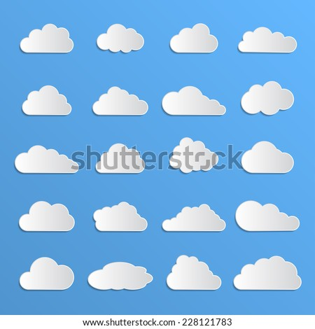 different clouds with 3d effect - stock vector