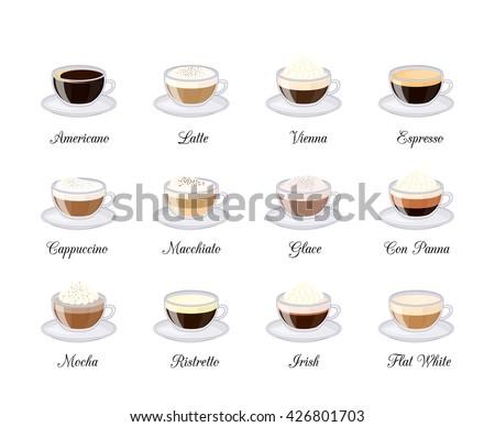 Different coffee drinks isolated on white background. Espresso, macchiato, chocolate, ristretto, mocha, irish, cocoa, frappe, glace, americano, latte, cappuccino. - stock vector