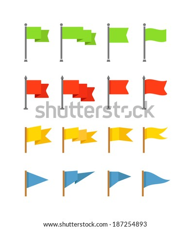 Different color flags collection isolated on white, Flat design - stock vector