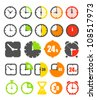 Different color timer icons collection isolated on white - stock vector