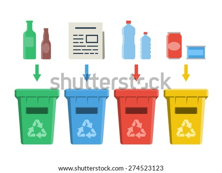 Different colored recycle bins, waste management concept - stock vector