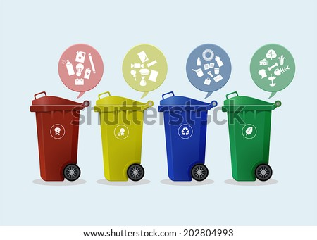 Different Colored wheelie bins set with waste icon, illustration of waste management concept - stock vector