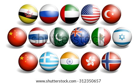Different country flags on round ball illustration - stock vector