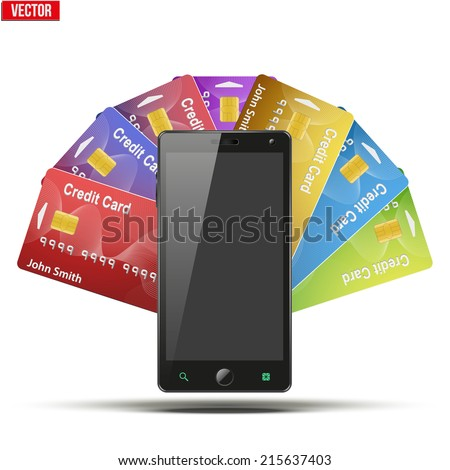 Different Credit Cards And Cell Phone. Electronic wallet and purse. Payment system and mobile technology. Vector Illustration isolated on white background. - stock vector